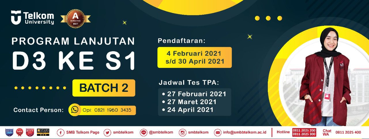 Jalur Program Lanjutan D3-S1 Telkom University 2021